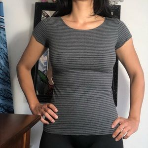 Grey/Gray and Black Stripped Shirt Women's Small